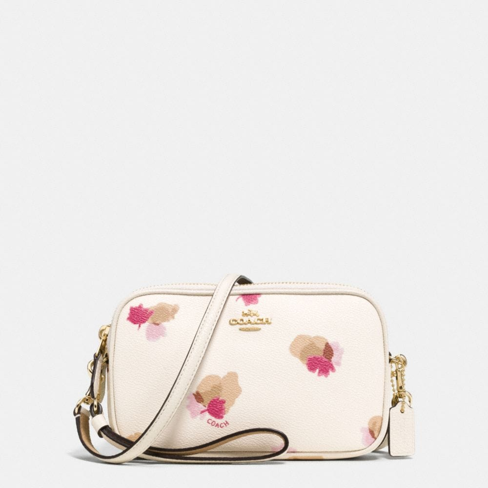 CROSSBODY CLUTCH IN FLORAL PRINT COATED CANVAS