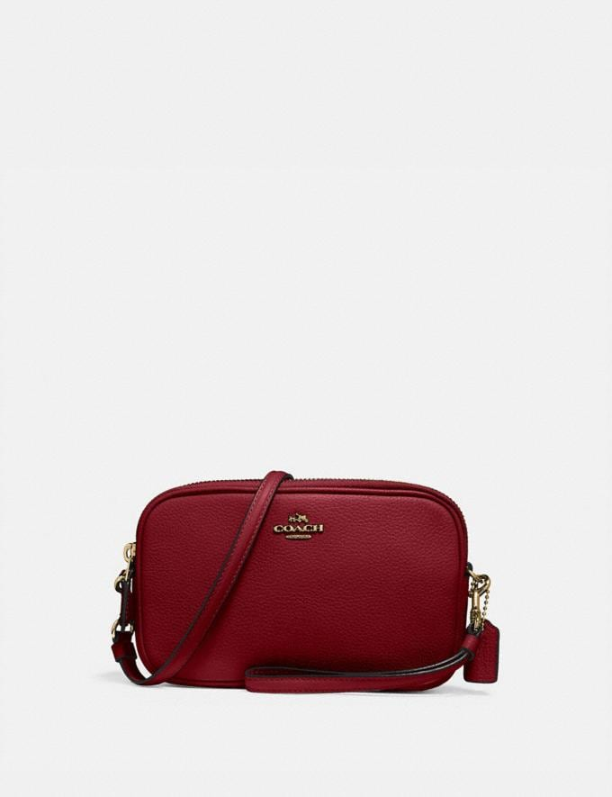 Coach Sadie Crossbody Clutch B4/Deep Red New Women's New Arrivals Small Leather Goods
