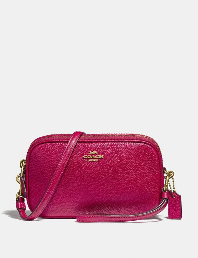 Coach Sadie Crossbody Clutch Bright Cherry/Gold Women Handbags Crossbody Bags