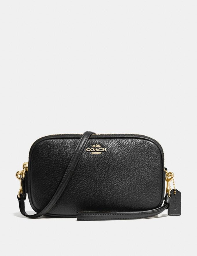 Coach Sadie Crossbody Clutch Black/Light Gold SALE Women's Sale Wallets & Wristlets