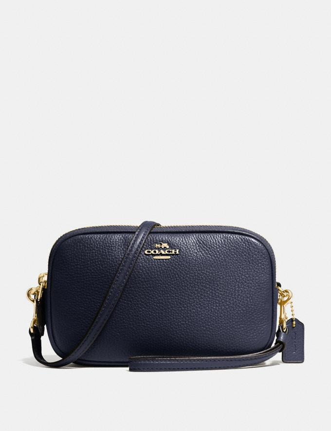 68c33eef47f1a Coach Sadie Crossbody Clutch Light Gold/Navy Women Bags Crossbody Bags