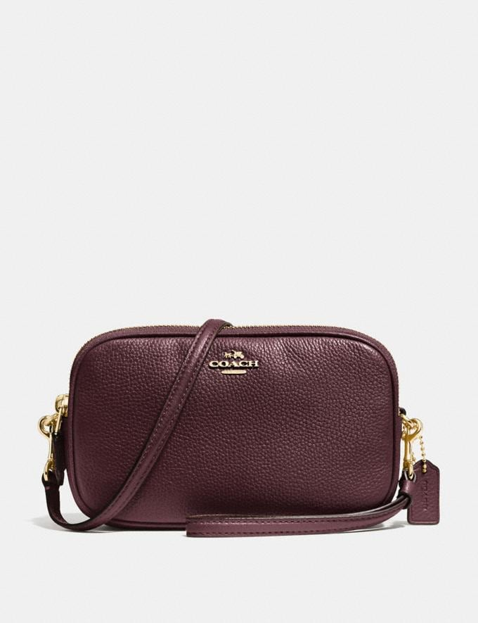 Coach Sadie Crossbody Clutch Oxblood/Light Gold