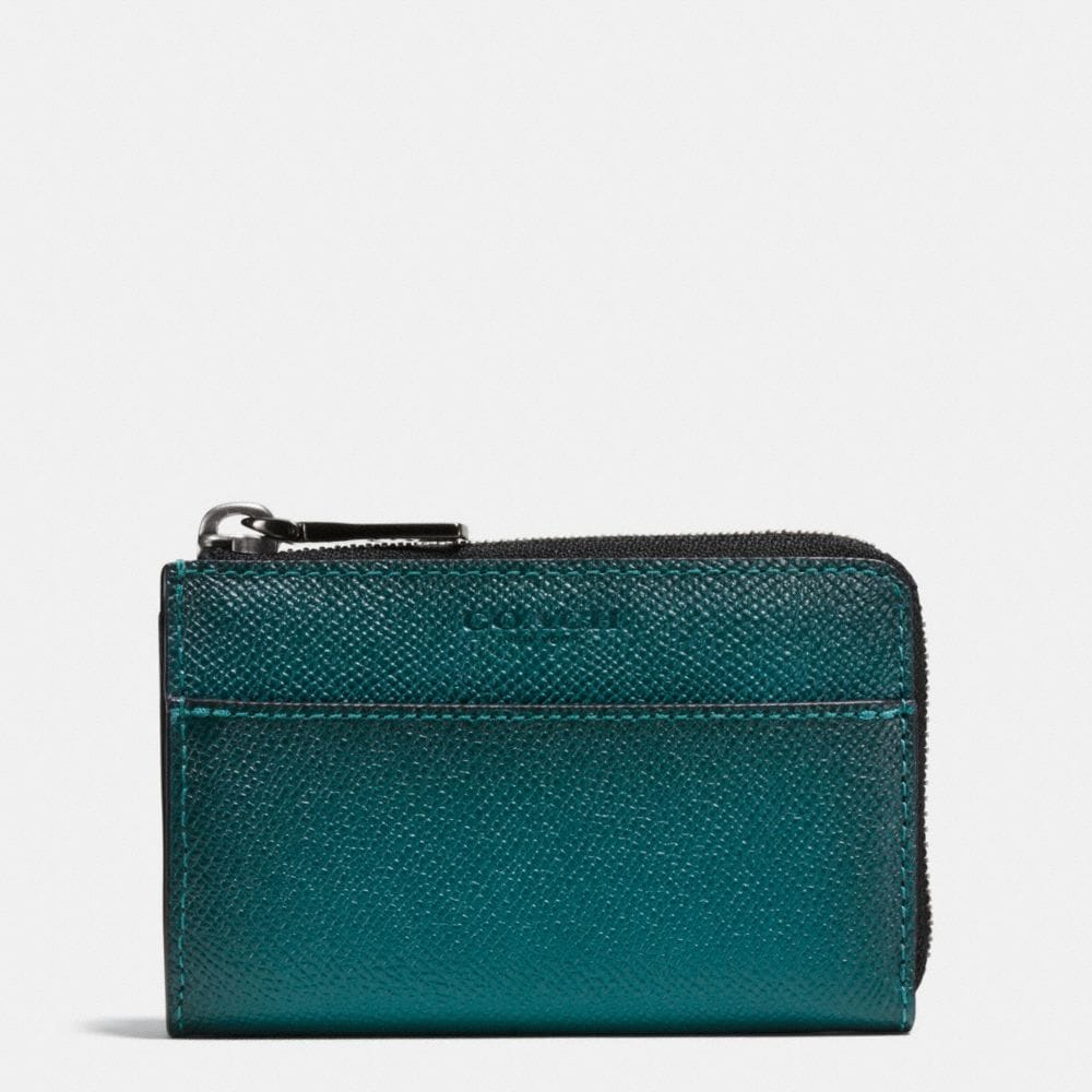 ZIP KEY CASE IN BURNISHED CROSSGRAIN LEATHER