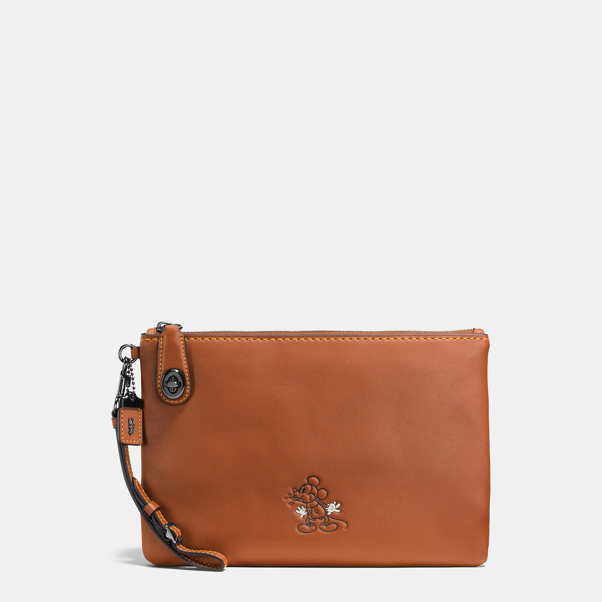 Coach Mickey Turnlock Wristlet In Glovetanned Leather - Disney