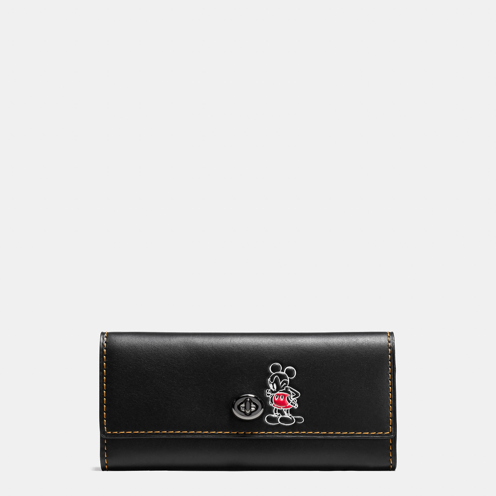 Coach Mickey Turnlock Wallet In Smooth Leather - Disney