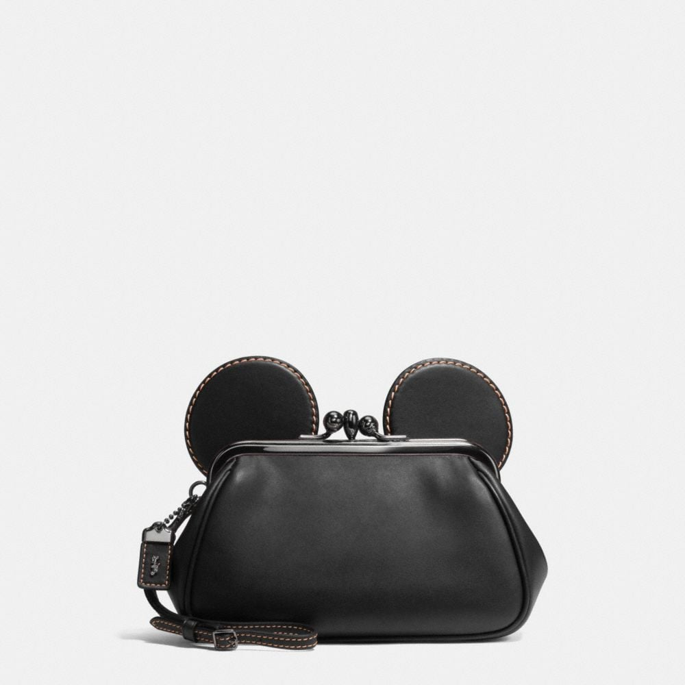 Mickey Kisslock Wristlet in Smooth Leather