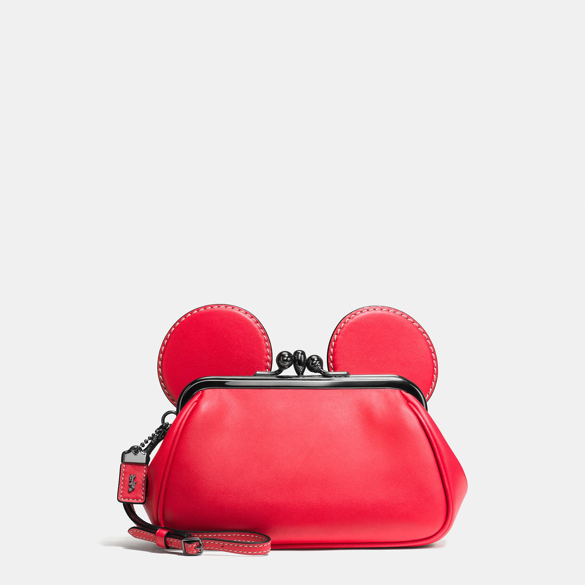 Coach Mickey Kisslock Wristlet In Smooth Leather - Disney