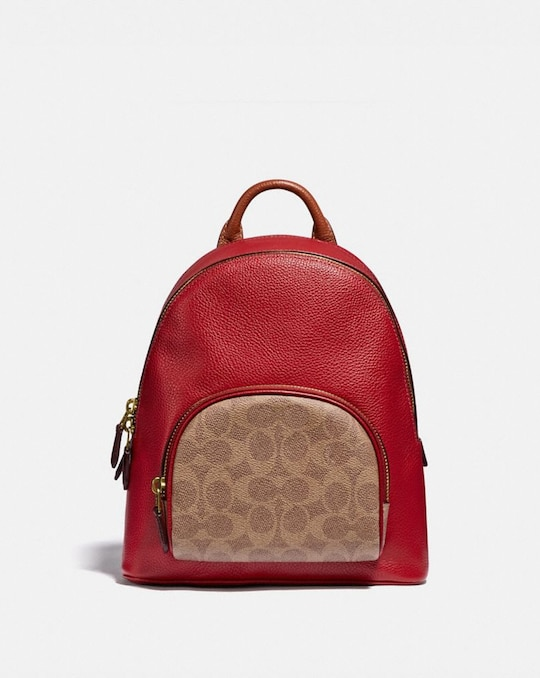 CARRIE BACKPACK 23 IN COLORBLOCK SIGNATURE CANVAS
