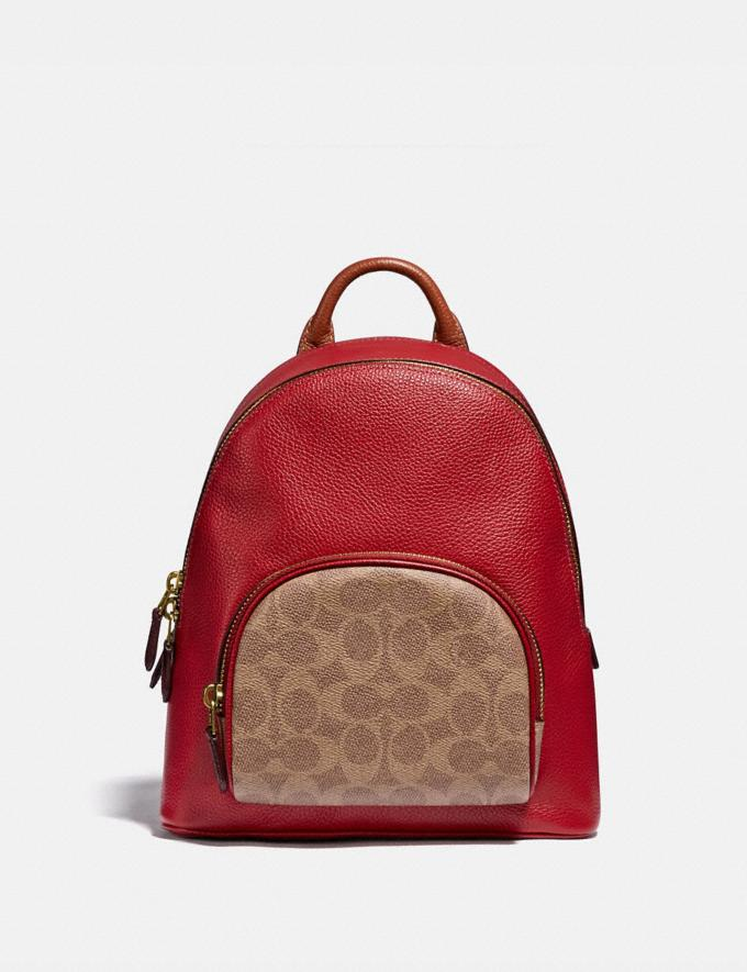Coach Carrie Backpack 23 in Colorblock Signature Canvas B4/Tan Red Apple Multi Women Bags Backpacks