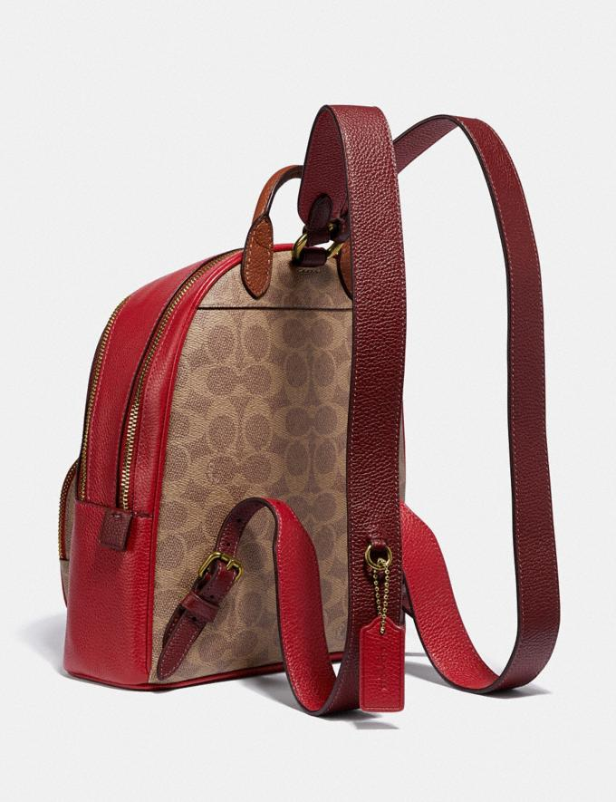 Coach Carrie Backpack 23 in Colorblock Signature Canvas B4/Tan Red Apple Multi Women Bags Backpacks Alternate View 1