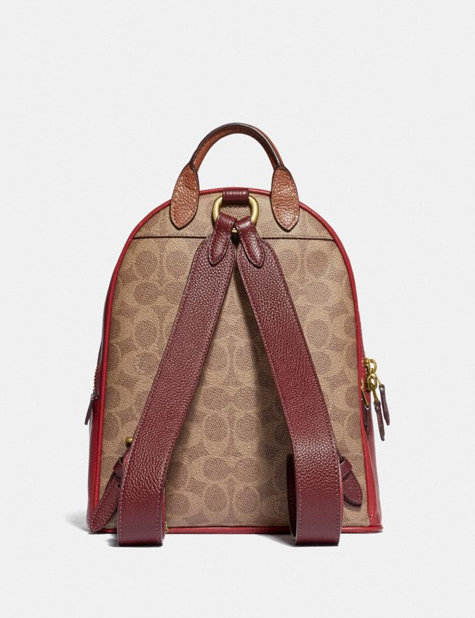 Coach Carrie Backpack 23 in Colorblock Signature Canvas B4/Tan Red Apple Multi Women Bags Backpacks Alternate View 2