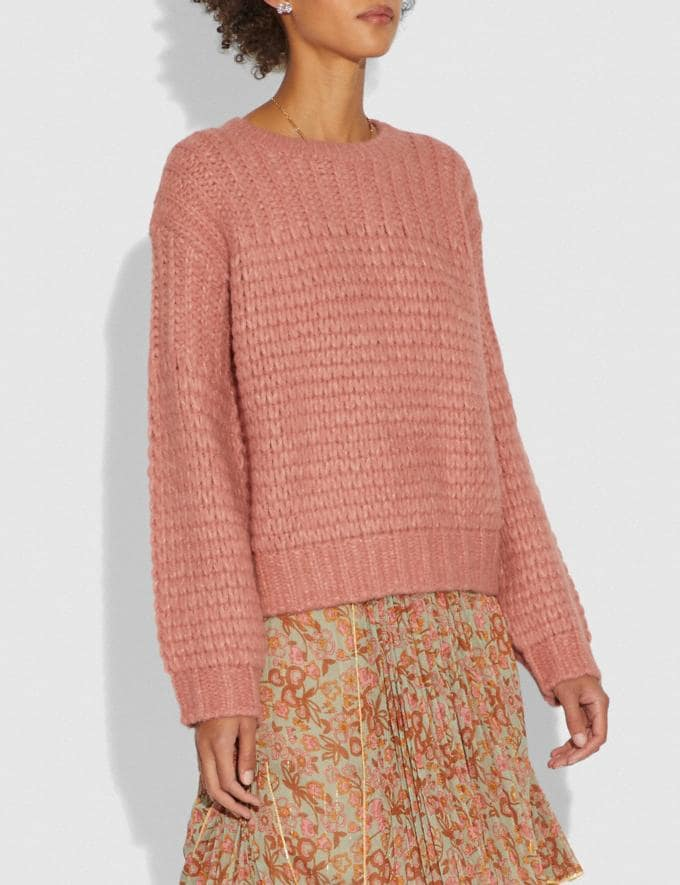 Coach Alpaca Crewneck Pink Women Ready-to-Wear Knitwear & Shirts Alternate View 1