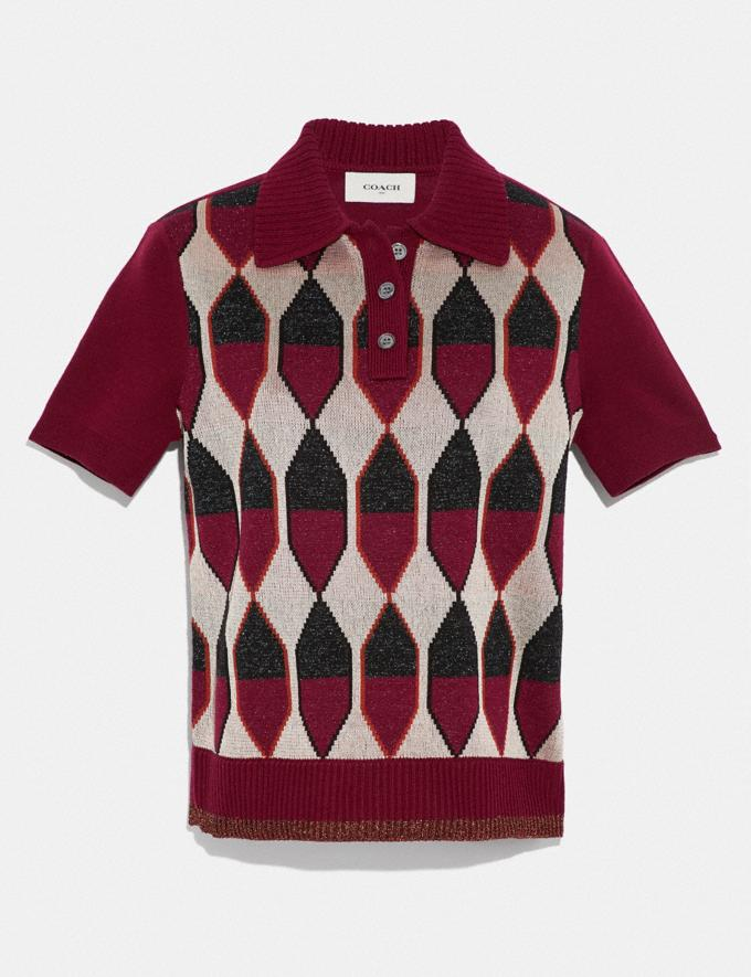 Coach Diamond Jacquard Polo Burgundy