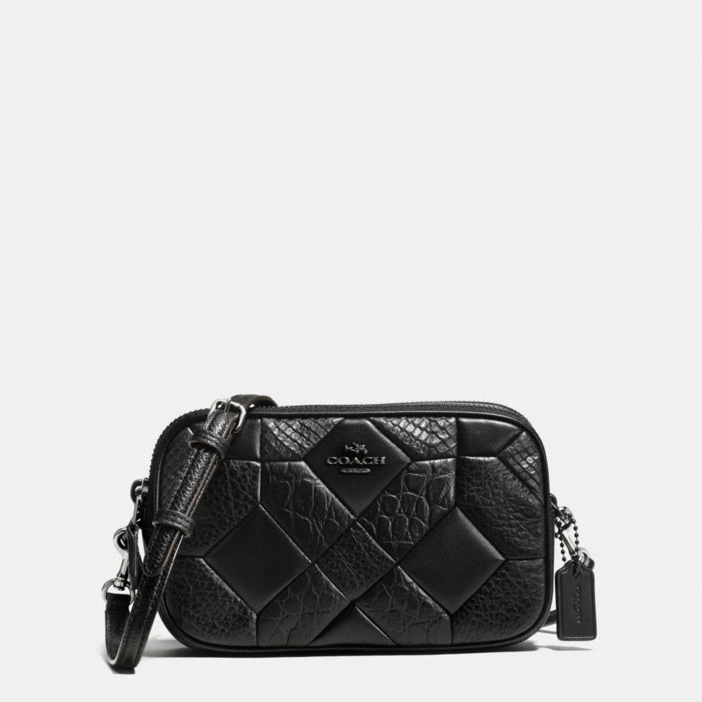 CANYON QUILT CROSSBODY CLUTCH IN EXOTIC EMBOSSED LEATHER