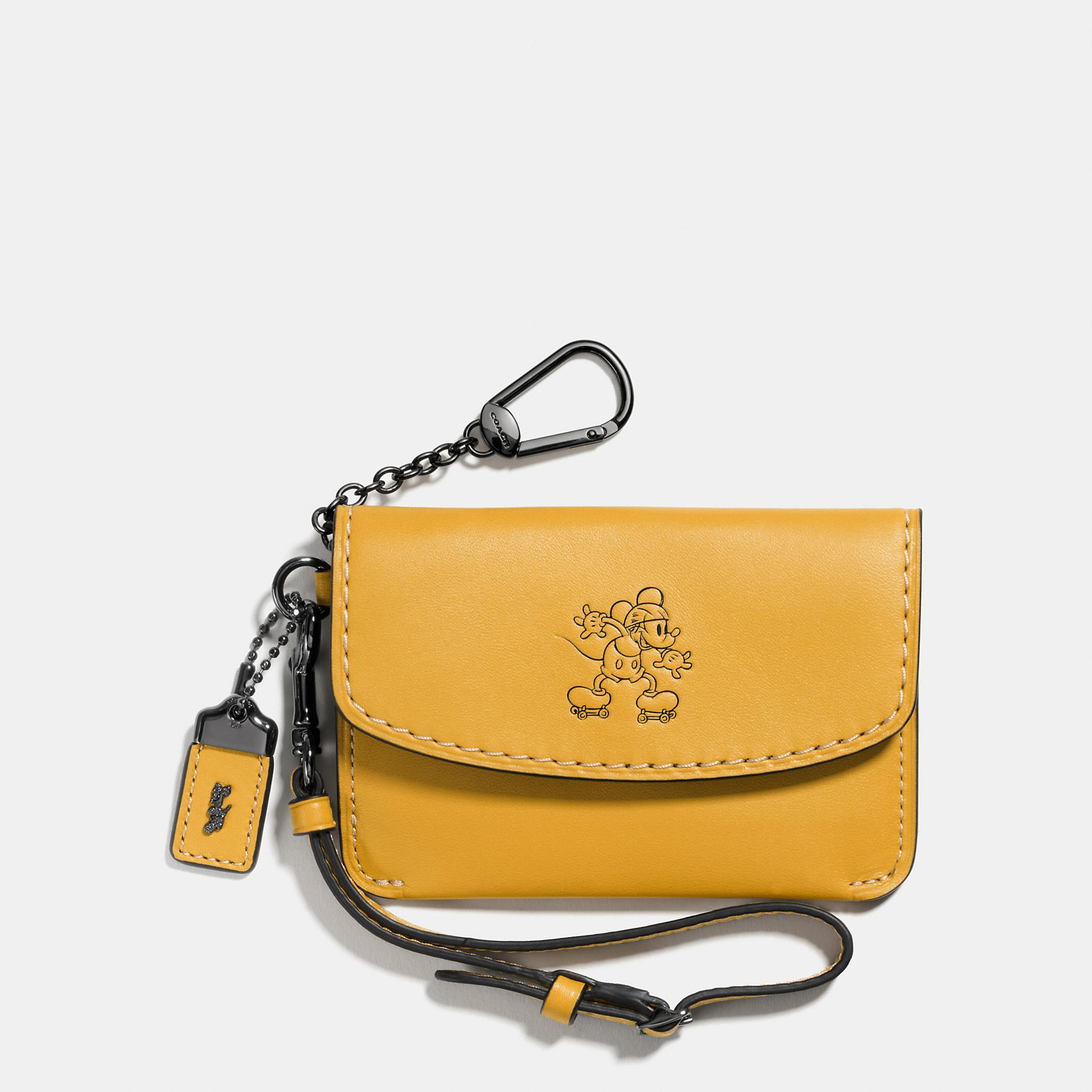 Coach Mickey Envelope Key Pouch In Glovetanned Leather - Disney
