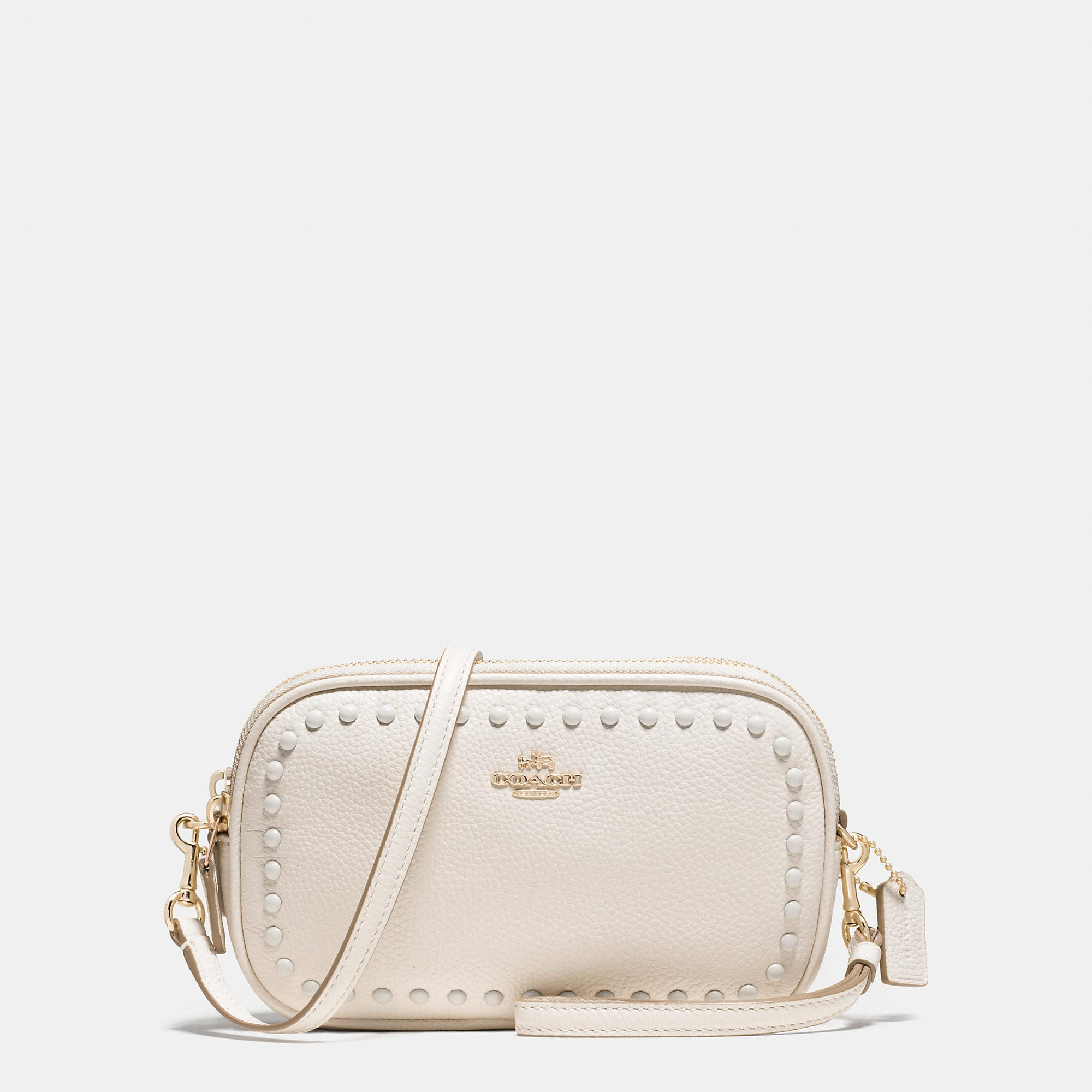 Coach Lacquer Rivets Crossbody Clutch In Pebble Leather