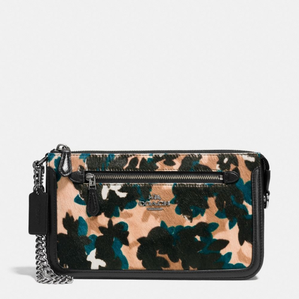 Coach Nolita Wristlet in Scattered Leaf Printed Haircalf