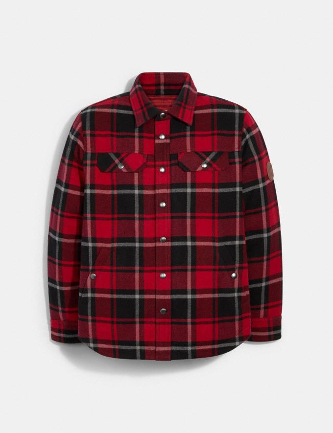 Coach Quilted Plaid Shirt Jacket Cherry Plaid Translations null