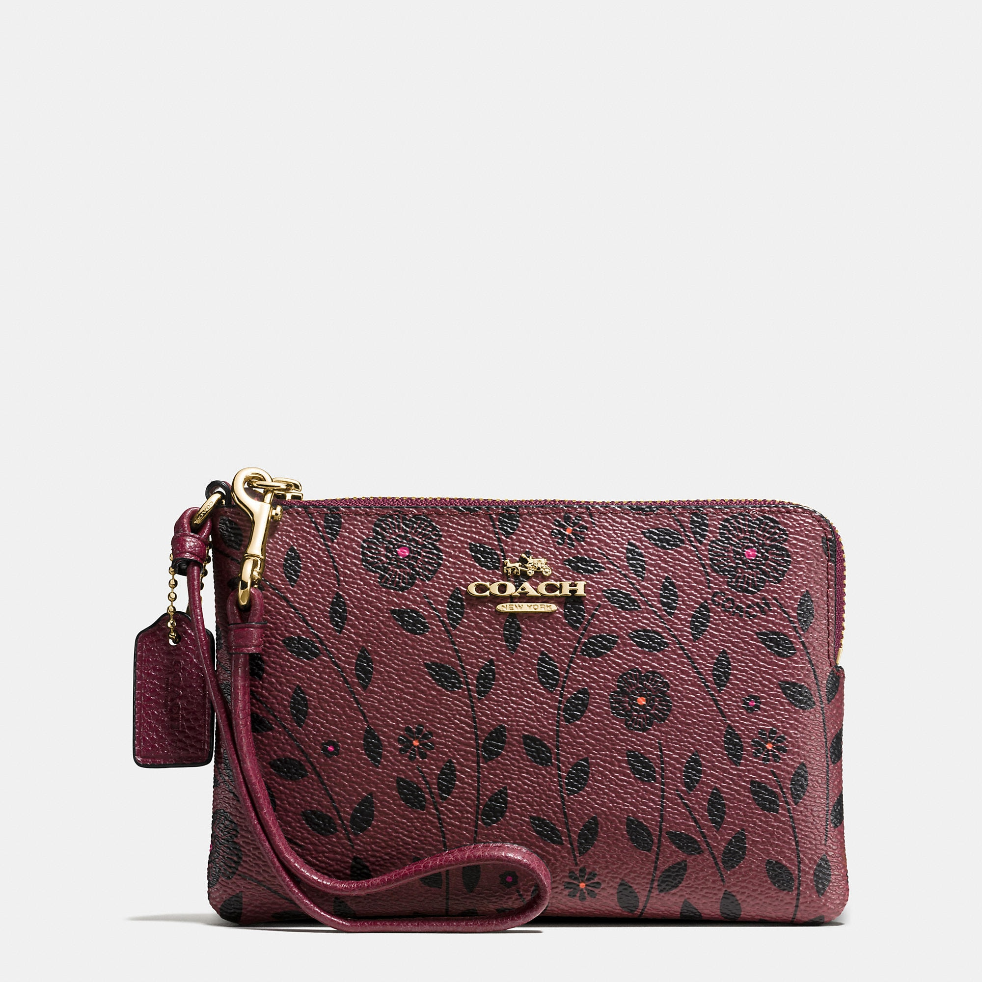 Coach Corner Zip Wristlet In Willow Floral Print Coated Canvas