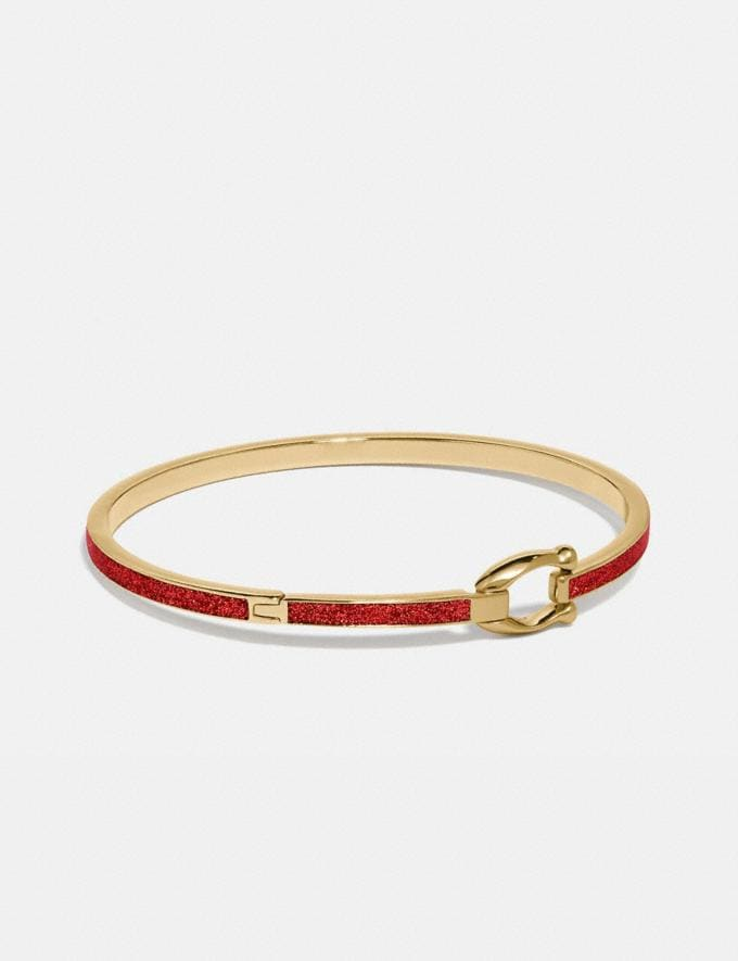 Coach Glitter Signature Hook Bangle Electric Red Women Accessories Jewellery Bracelets