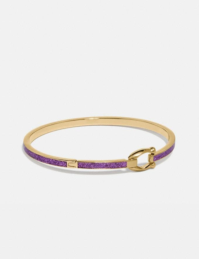 Coach Glitter Signature Hook Bangle Dark Grape Women Accessories Jewellery Bracelets