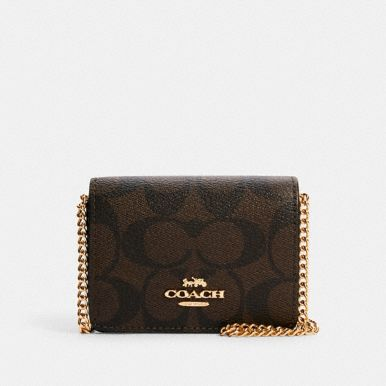 Coach Mini Wallet On A Chain In Signature Canvas