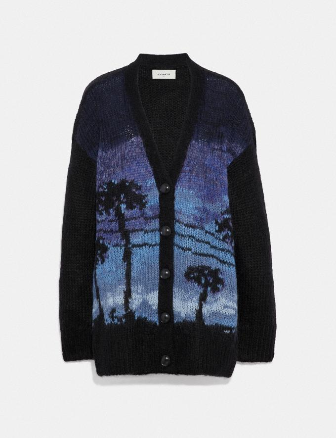 Coach Palm Tree Intarsia Cardigan Blue Staff Sale