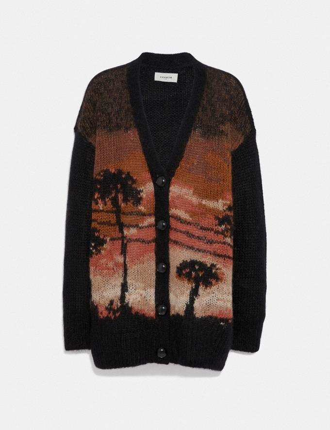 Coach Palm Tree Intarsia Cardigan Brown SALE Women's Sale Ready-to-Wear