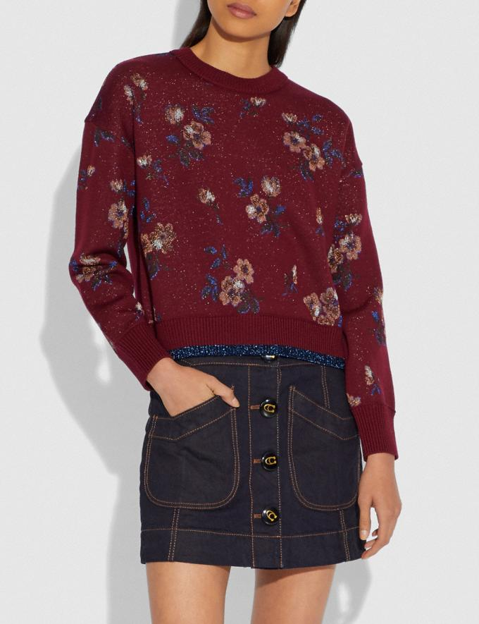 Coach Floral Jacquard Crewneck Wine SALE Women's Sale Ready-to-Wear Alternate View 1