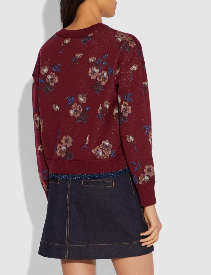 Coach Floral Jacquard Crewneck Wine SALE Women's Sale Ready-to-Wear Alternate View 2