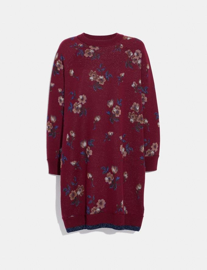 Coach Floral Jacquard Sweater Dress Wine SALE Women's Sale Ready-to-Wear