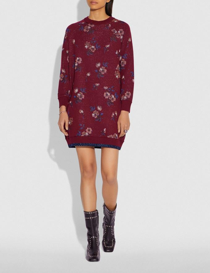 Coach Floral Jacquard Sweater Dress Wine SALE Women's Sale Ready-to-Wear Alternate View 1