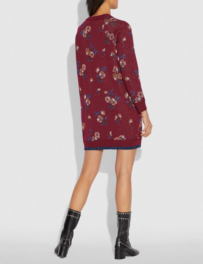 Coach Floral Jacquard Sweater Dress Wine SALE Women's Sale Alternate View 2