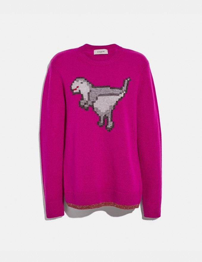 Coach Pixel Rexy Sweater Magenta Women Ready-to-Wear Tops