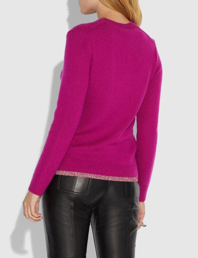 Coach Pixel Rexy Sweater Magenta Women Ready-to-Wear Tops Alternate View 2