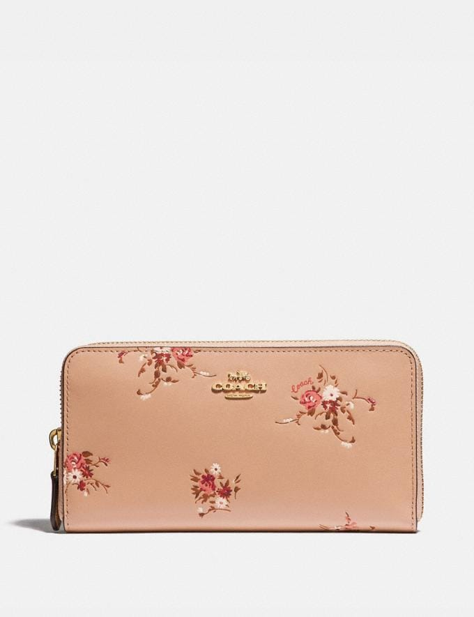 Coach Accordion Zip Wallet With Floral Bundle Print Beechwood Floral/Gold 30% off Select Full-Price Styles