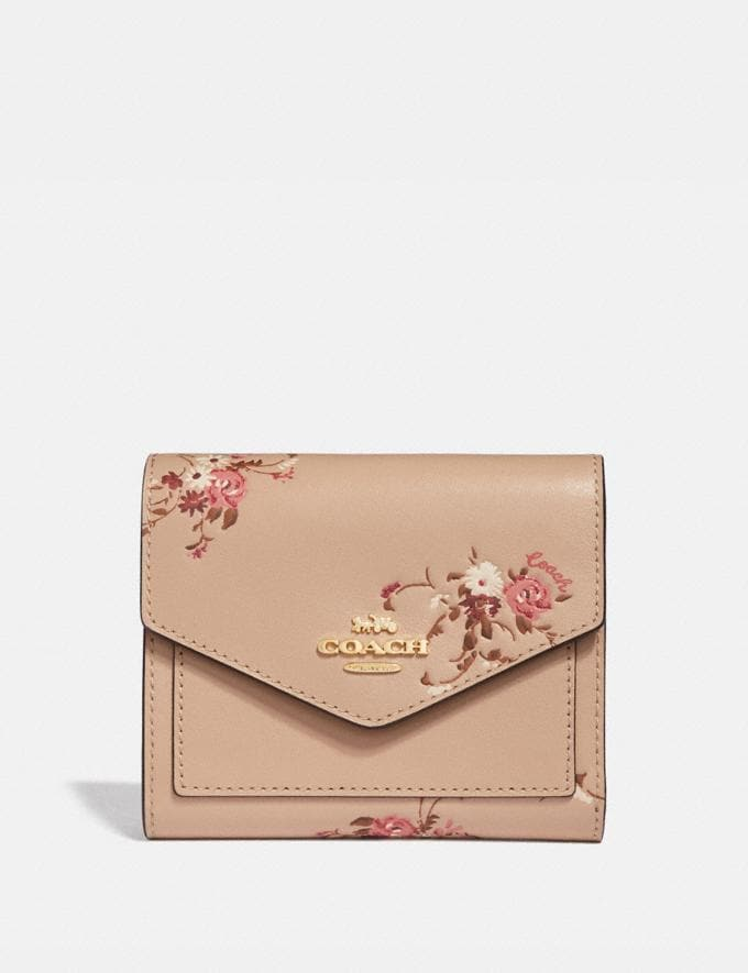 Coach Small Wallet With Floral Bundle Print Beechwood Floral/Gold Women Wallets & Wristlets Small Wallets