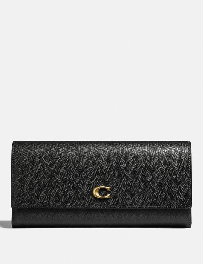 Coach Envelope Wallet Black/Brass Gifts For Her Valentine's Gifts