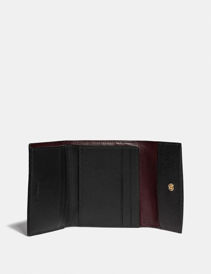 Coach Small Flap Wallet Black/Brass New Women's New Arrivals Alternate View 1