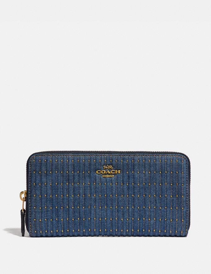 Coach Accordion Zip Wallet With Quilting and Rivets Denim/Brass Women Wallets & Wristlets Large Wallets