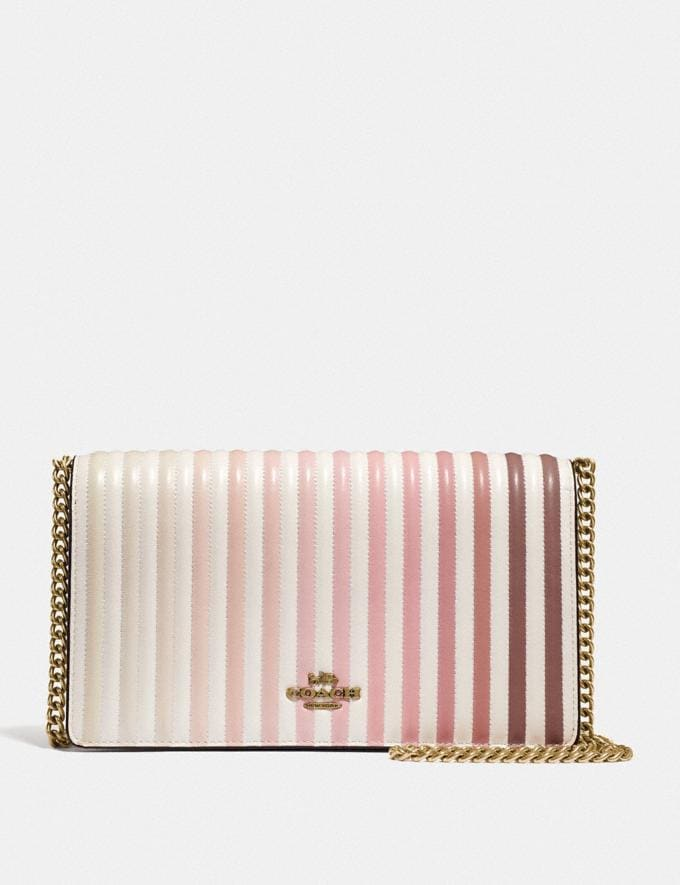 Coach Callie Foldover Chain Clutch With Ombre Quilting Chalk/Brass Women Bags Crossbody Bags