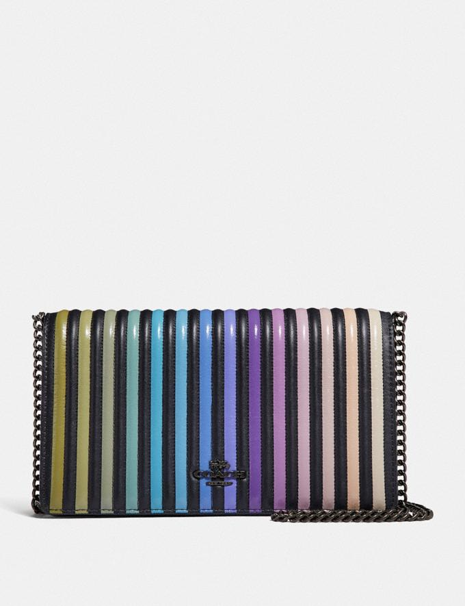 Coach Callie Foldover Chain Clutch With Ombre Quilting Black/Gunmetal Gifts For Her Valentine's Gifts