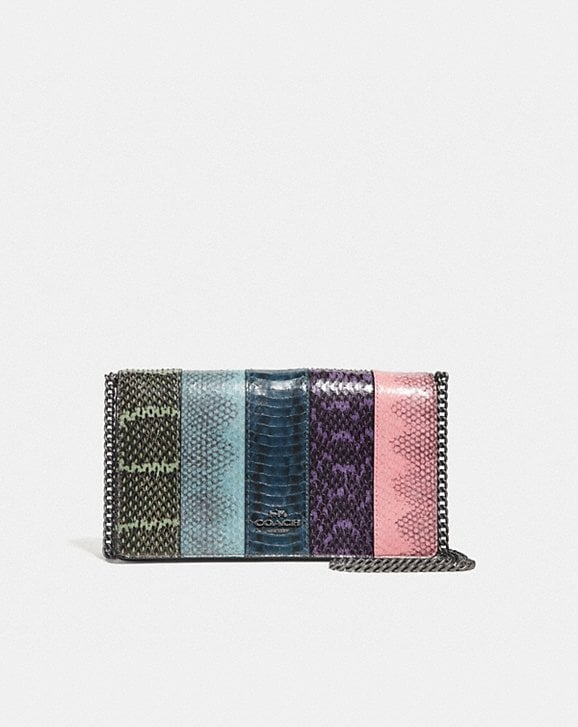 Coach CALLIE FOLDOVER CHAIN CLUTCH IN OMBRE SNAKESKIN