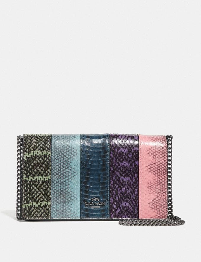 Coach Callie Foldover Chain Clutch in Ombre Snakeskin Multicolor/Pewter Women Bags Clutches