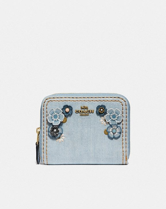 Coach SMALL ZIP AROUND WALLET WITH TEA ROSE