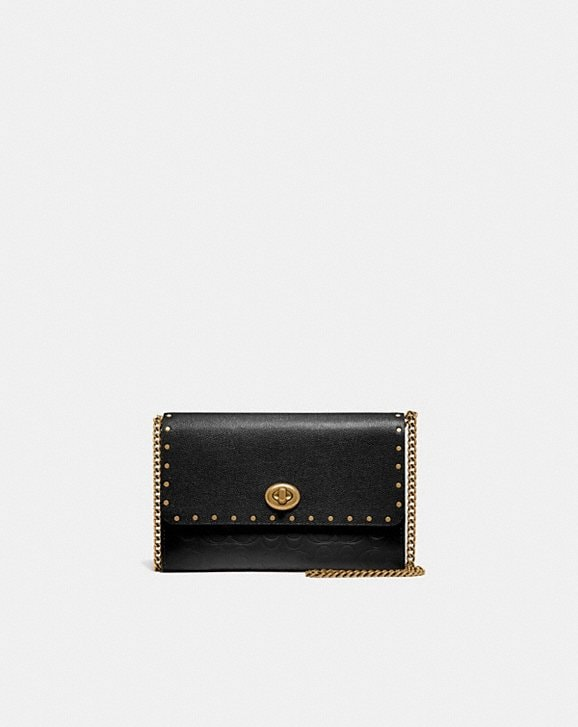 Coach MARLOW TURNLOCK CHAIN CROSSBODY IN SIGNATURE LEATHER WITH RIVETS