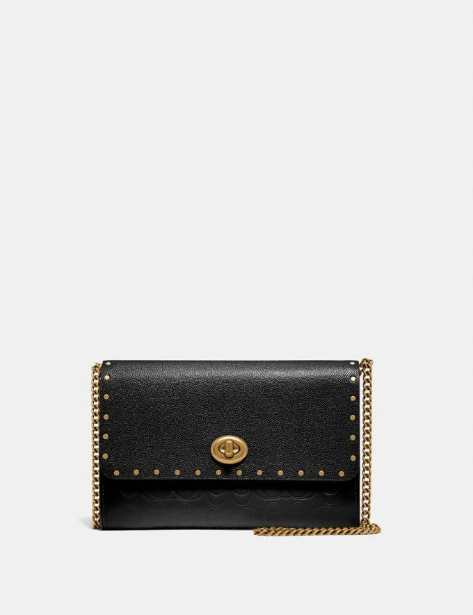 Coach Marlow Turnlock Chain Crossbody in Signature Leather With Rivets Black/Brass Women Bags Crossbody Bags