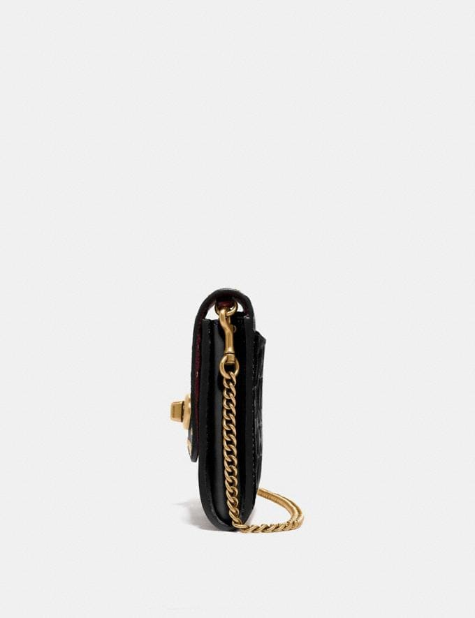 Coach Marlow Turnlock Chain Crossbody in Signature Leather With Rivets Black/Brass Women Bags Crossbody Bags Alternate View 1