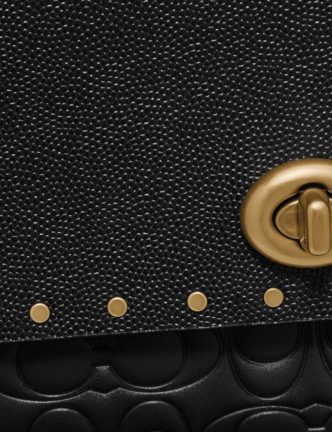 Coach Marlow Turnlock Chain Crossbody in Signature Leather With Rivets Black/Brass Women Collection Signature Alternate View 4