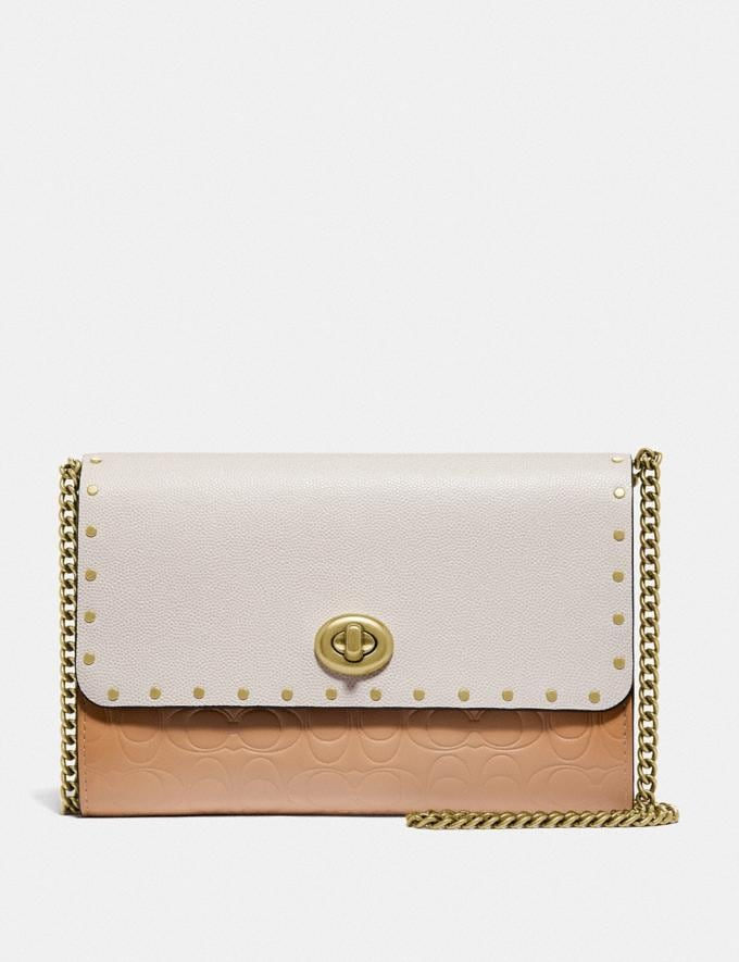 Coach Marlow Turnlock Chain Crossbody in Signature Leather With Rivets Brass/Beechwood SALE Women's Sale Bags
